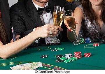 kasino, friends, anheben gläser