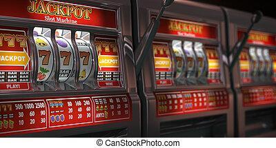 kasino, gluecksspiel, steckplatz, onliine, casino., maschinen, reihe, begriff, hintergrund.