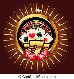 kasino, gold-framed, komposition