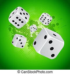 kasino, hintergrund, mit, würfelt