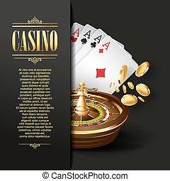 kasino, hintergrund., vektor, gluecksspiel, illustration.