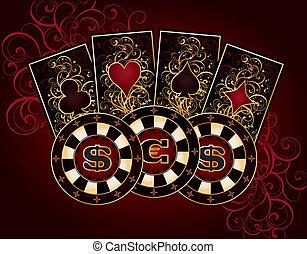 kasino, karte, mit, feuerhaken, elemente