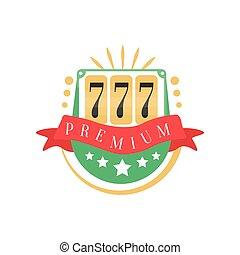 kasino, logo, bunte, gluecksspiel, weinlese, emblem, mit, glückliche zahl, 777, vektor, abbildung