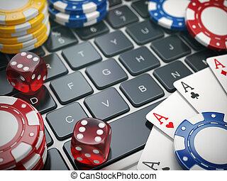 kasino, online., spielen chips, karten, und, spielwürfel, auf, laptop-computer, hintergrund.