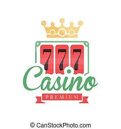 kasino, prämie, logo, bunte, gluecksspiel, weinlese, emblem, mit, glückliche zahl, 777, und, krone, vektor, abbildung