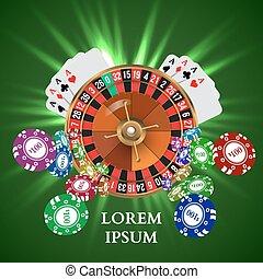 kasino, roulett, kartenspielen, witn, fallender , späne
