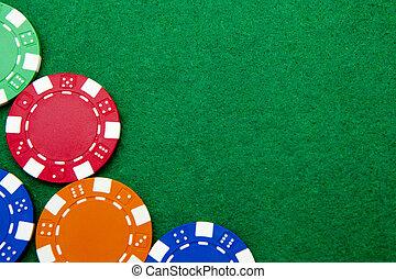 kasino, spielen chips, mit, kopieren platz