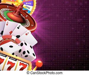 kasino, spielwürfel, banner, tafel, auf, hintergrund.