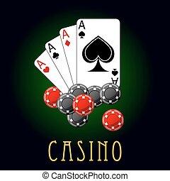 kasino, symbole, witz, karten, und, späne