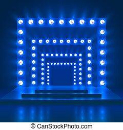 kasino, teater, forevise, dans, lys, decoration., podium, vektor, baggrund, skinnende, phasen