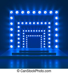 kasino, theater, weisen, tanz, licht, decoration., podium, vektor, hintergrund, glänzend, buehne