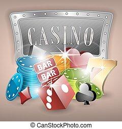 kasino, vektor, abbildung, mit, gluecksspiel, elemente