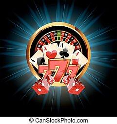 kasino, zusammensetzung, mit, roulette rad