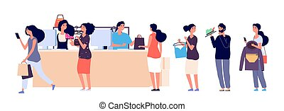 kasjer, gotówka, ludzie, biurko, queue., accessorises, zakupy, płaski, klienci, fason, wektor, ubranie zapas, illustration.