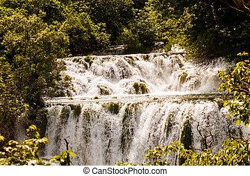 kaskade, nationalpark, wald, krka, kroatien, wasserfälle