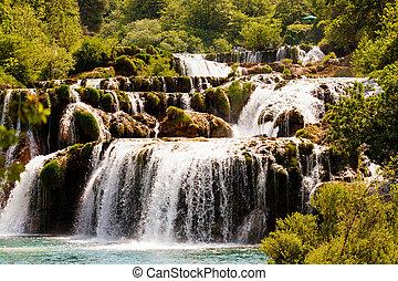 kaskade, von, wasserfälle, krka, nationalpark, kroatien