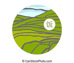 kaskaden, field., reis, titel, auf, chinesisches