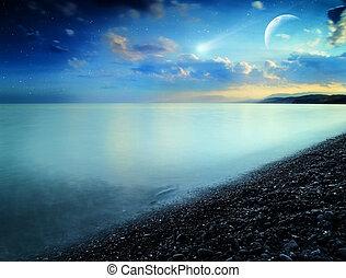 kasownik, abstrakcyjny, brzeg, morze, comet., krajobraz