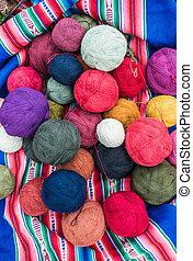 kasownik, farbowany, wełna, historyjka, peruwiański, andy, cuzco, peru
