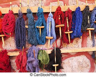 kasownik, farbowany, wełna, historyjka, w, przedimek określony przed rzeczownikami, peruwiański, andy, na, cuzco