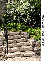 kasownik, kamień, kroki