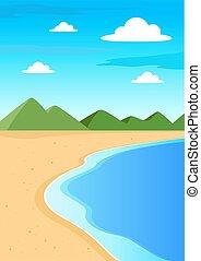 kasownik, plaża, krajobraz, tło