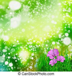 kasownik, zielone tło, z, kwiaty