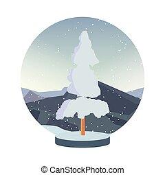 kasownik, zima drzewo, śnieg, sosna, krajobraz