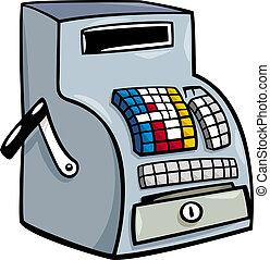 kassa, oder, registrierkasse, karikatur, clip- kunst