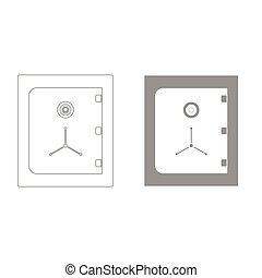 kassaskåp, grå, färg, sätta, ikon, .