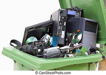 kasserat, använd, och, gammal, dator, hardware.