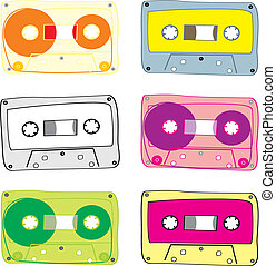 kassett, vektor, audio