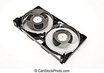 kassette, video, freigestellt, rgeöffnete, weißes