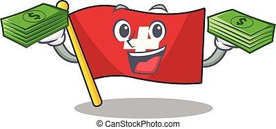 kast, geld zak, vlag, zetten, zwitserland, spotprent