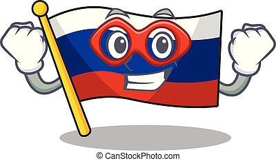 kast, vlag, opgeborgen, russische , held, fantastisch, spotprent