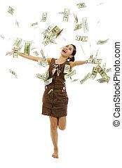 kastande, pengar, kvinna, nätt