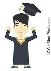 kaste, graduere, hans, oppe, hat.
