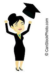 kaste, graduere, oppe, examen, hat.
