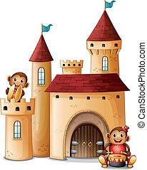 kasteel, aapjes