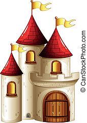 kasteel, banieren, gele