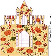 kasteel, halloween, retro