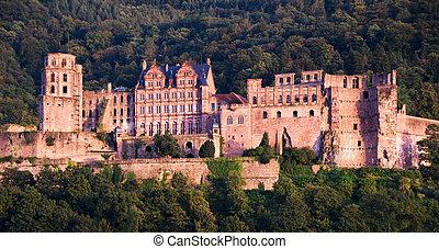 kasteel, heidelberg, rood