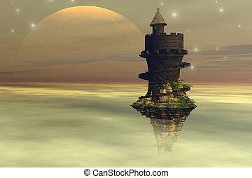 kasteel, hemel
