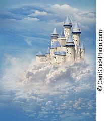 kasteel, in de wolken