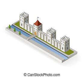 kasteel, isometric, middeleeuws
