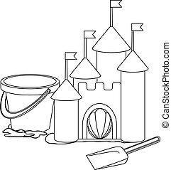kasteel, kleuren, book:, zand, spotprent