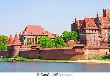 kasteel, malbork, pomerania, gebied, polen