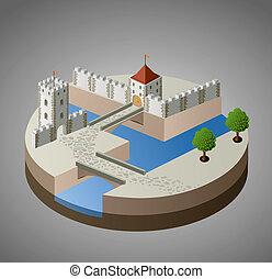 kasteel, middeleeuws, aanzicht