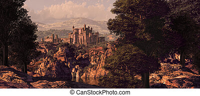kasteel, middeleeuws, landscape