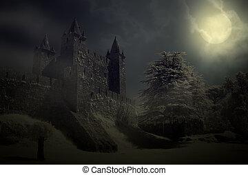 kasteel, middeleeuws, nacht